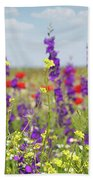 Spring Meadow With Flowers Nature Scene Bath Towel