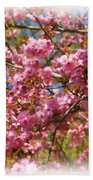 Spring Pink Blossoms Bath Towel