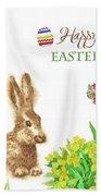 Spring Rabbit And Flowers Bath Towel