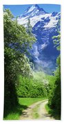 Spring Road To Mountains Bath Towel