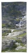 Spring Waterfall In The Tetons Bath Towel