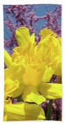 Springtime Yellow Daffodils Art Print Pink Blossoms Blue Sky Baslee Troutman Bath Towel