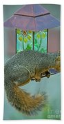 Squirrel At The Bird Feeder Bath Towel