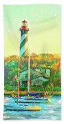 St Augustine Lighthouse Waterscaped Bath Towel