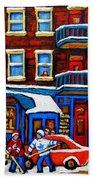 St Viateur Bagel With Hockey Montreal Winter Street Scene Bath Towel