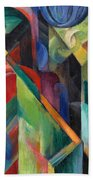 Stables By Franz Marc Bright Painting Of Horses In A Stable Bath Towel