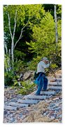 Stairway From Lake Superior Beach To Au Sable Lighthouse In Pictured Rocks National Lakeshore-michig Bath Towel