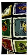 Butterfly Postage Stamp Art Print Bath Towel