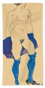 Standing Woman With Shoes And Stockings Bath Towel