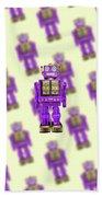 Star Strider Robot Purple Pattern Bath Towel