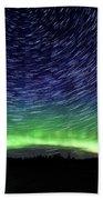 Star Trails And Aurora Bath Towel
