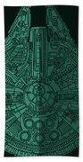 Star Wars Art - Millennium Falcon - Blue Green Bath Towel