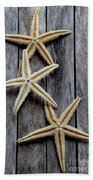 Starfishes In Wooden Bath Towel