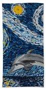 Starry Night Dolphin Hand Towel