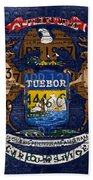 State Of Michigan Flag Recycled Vintage License Plate Art Version 1 Bath Towel