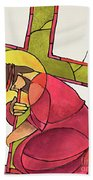 Stations Of The Cross - 03 Jesus Falls The First Time - Mmjff Bath Towel