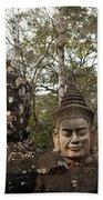 Statue Heads Ankor Thom Bath Towel