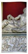 Statue Of The Greek River God Tiberinus At The Vatican Museum Bath Towel