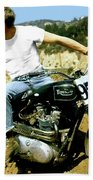 Steve Mcqueen, Triumph Motorcycle, On Any Sunday Bath Towel