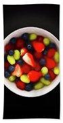 Still Life Of A Bowl Of Fresh Fruit Salad. Bath Towel