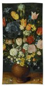Still Life Of Flowers In A Stoneware Vase Bath Towel