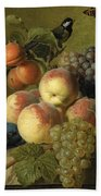 Still Life Of Peaches  Grapes And Plums On A Stone Ledge With A Bird And Butterfly Hand Towel