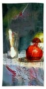 Still Life Oil Painting Table With Pomegranate Ceramic Kettle Glass Knife And Bowl Of Fruit Pears Linen Sketch Painting Life Drawing Bath Towel