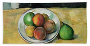 Still Life With A Peach And Two Green Pears Bath Towel
