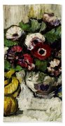 Still Life With Anemones And Fruit Bath Towel