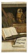Still Life With Books Sheet Music Violin Celestial Globe And An Owl Bath Towel