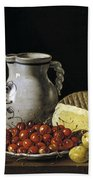 Still Life With Cherries  Cheese And Greengages Bath Towel