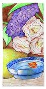Still Life With Fish Bath Sheet by Loretta Nash