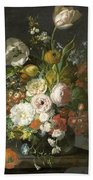 Still Life With Flowers In A Glass Vase Bath Towel