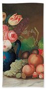 Still Life With Fruit And Flowers Bath Towel