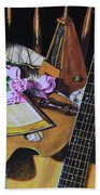 Still Life With Guitar Bath Towel