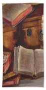 Still Life With Old Books Bath Towel