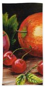 Still Life With Peaches And Cherries  Bath Towel