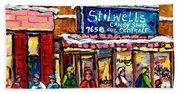 Stilwell's Candy Shop Montreal Memories Lasalle Verdun Winter City Scene Hockey Art Carole Spandau   Bath Towel