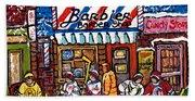 Stilwell's Candy Stop Winterscene Painting For Sale Montreal Hockey Art C Spandau Snowy Barber Shop Bath Towel