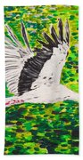 Stork In Flight Bath Towel