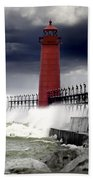 Storm At The Grand Haven Lighthouse Bath Towel