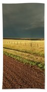 Storm Clouds Along A Saskatchewan Country Road Bath Towel