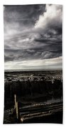Storm Clouds Over Beached Shipwreck Bath Towel