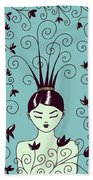 Strange Hairstyle And Flowery Swirls Bath Towel