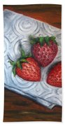 Strawberries-3 Contemporary Oil Painting Bath Towel