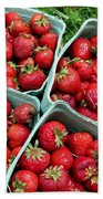 Strawberries In A Box On The Green Grass Bath Towel