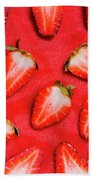 Strawberry Slice Food Still Life Bath Towel