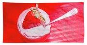 Strawberry Yogurt In Round Bowl With Spoon Hand Towel