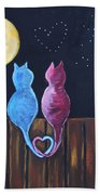Stray Cats In Moonlight Bath Towel