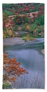 Stream And Fall Color In Central California Bath Towel